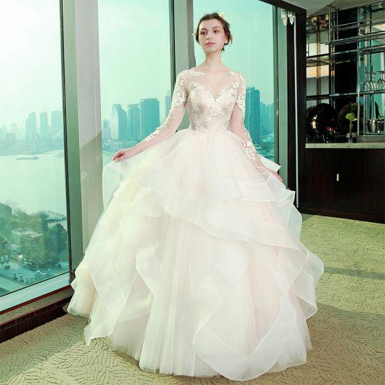 Piękne Sala Suknie Ślubne 2017 Z Koronki Aplikacje Rhinestone Wycięciem Długie Rękawy Kótkie Rękawy Długie Białe Suknia Balowa