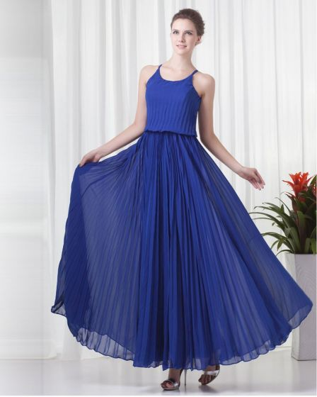 Pleated Round Neck Ankle Length Chiffon Woman Evening Party Dress