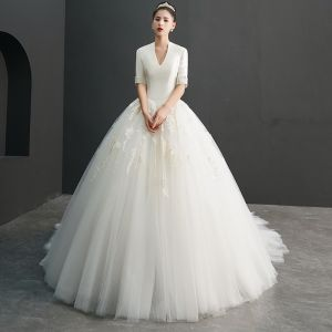 Amazing / Unique Ivory Wedding Dresses 2019 Ball Gown V-Neck 1/2 Sleeves Appliques Lace Cathedral Train Ruffle