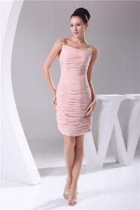 Chiffon Imitated Silk Fabric Pleated Neckline Seam Bead Knee Length Cocktail Dress