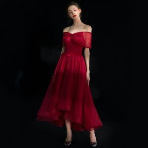High Low Burgundy Homecoming Graduation Dresses 2019 A-Line / Princess Off-The-Shoulder Short Sleeve Spotted Tulle Asymmetrical Ruffle Backless Formal Dresses