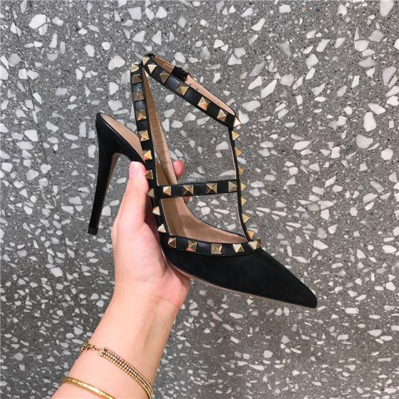 Fine Svart Aften Klinke Sandaler Dame 2020 8 cm Stiletthæler Spisse Sandaler