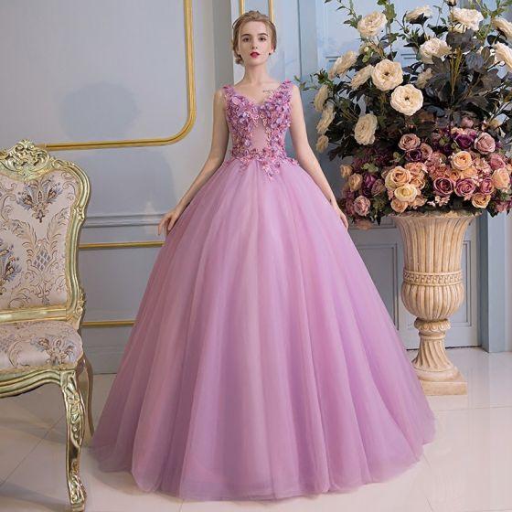 Hermoso Vestidos de gala 2017 De Encaje Flor Apliques V-Cuello Sin Mangas Sin Espalda Largos Lila Ball Gown