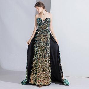 High End Multifarben Abendkleider 2020 Meerjungfrau Bandeau Perlenstickerei Pailletten Ärmellos Rückenfreies Sweep / Pinsel Zug Festliche Kleider