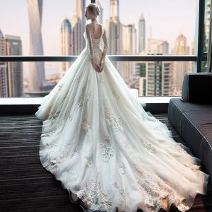 Chic / Beautiful Church Wedding Dresses 2017 Backless Lace Appliques Flower Sequins Ivory Ball Gown Royal Train