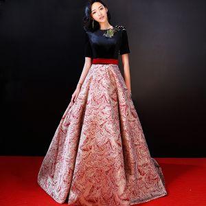 Luxe Rouge Robe De Soirée 2018 Princesse Encolure Dégagée Charmeuse Perlage Impression Brodé Soirée Robe De Ceremonie