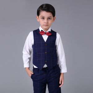Modest / Simple Navy Blue Checked Boys Wedding Suits 2017 Long Sleeve
