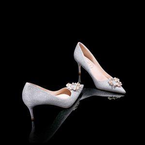 Stylowe / Modne Srebrny Buty Ślubne Skórzany Frezowanie Perła Rhinestone Ślub Wieczorowe Wysokie Obcasy Szpiczaste Buty Damskie 2019