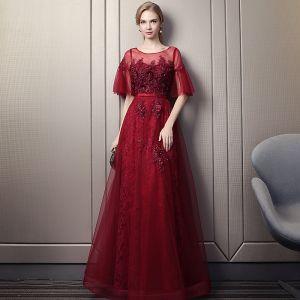 Chic / Beautiful Burgundy Prom Dresses 2018 Empire Scoop Neck 1/2 Sleeves Appliques Flower Pearl Beading Rhinestone Sash Floor-Length / Long Ruffle Backless Formal Dresses