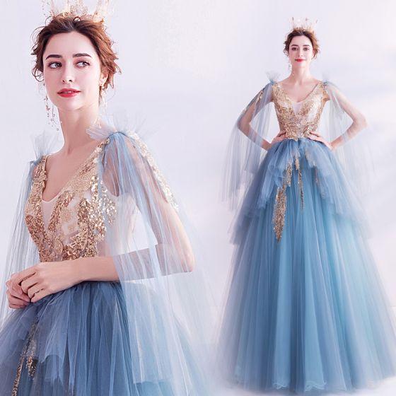 Mode Blau Ballkleider 2020 A Linie V-Ausschnitt Perlenstickerei Pailletten Perle Ärmellos Rückenfreies Lange Festliche Kleider