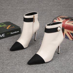 Stilig Mote Hvit Oppnevning Ankel Kvinners støvler 2021 Lær Perle 7 cm Stiletthæler Spisse Boots