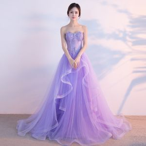 Chic / Beautiful Lilac Evening Dresses  2017 A-Line / Princess Sweetheart Sleeveless Appliques Lace Rhinestone Cascading Ruffles Sweep Train Backless Formal Dresses