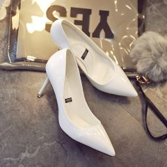 Chic / Beautiful Ivory Office Pumps 2019 Patent Leather 8 cm Stiletto Heels Pointed Toe Pumps