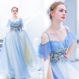 Schöne Blau Abendkleider 2019 A Linie Spaghettiträger Perlenstickerei Spitze Blumen Kurze Ärmel Rückenfreies Lange Festliche Kleider