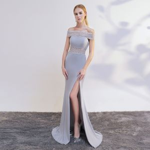 Chic / Beautiful Grey Evening Dresses  2017 Trumpet / Mermaid Off-The-Shoulder Short Sleeve Pearl Sweep Train Split Front Backless Formal Dresses