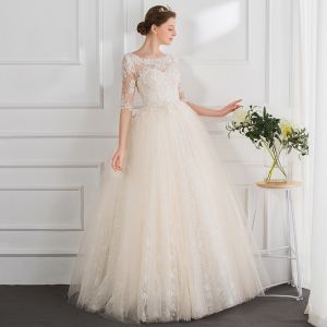 Modern / Fashion Champagne Wedding Dresses 2018 Ball Gown Beading Pearl Appliques Scoop Neck 1/2 Sleeves Floor-Length / Long Wedding