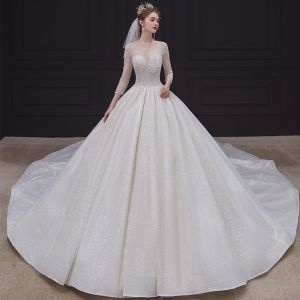 High-end Champagne See-through Bridal Wedding Dresses 2020 Ball Gown Scoop Neck 3/4 Sleeve Backless Beading Glitter Tulle Cathedral Train Ruffle