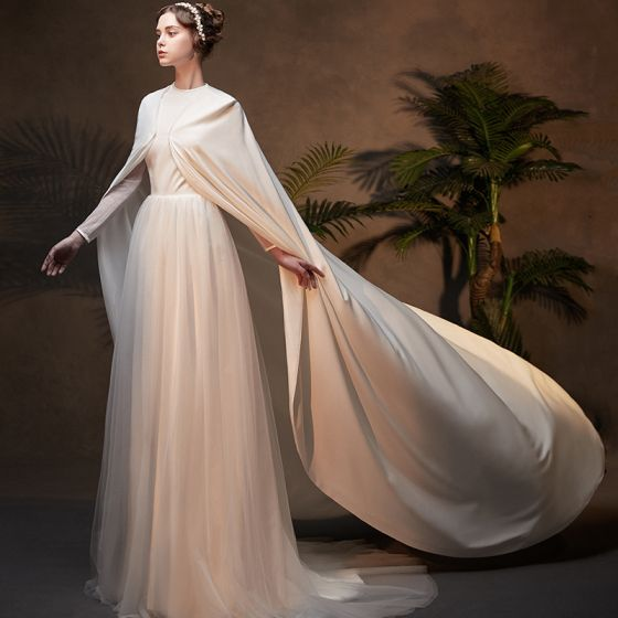 Amazing / Unique Muslim Ivory Wedding Dresses With Cloak 2019 A-Line / Princess High Neck Long Sleeve Backless Court Train Ruffle