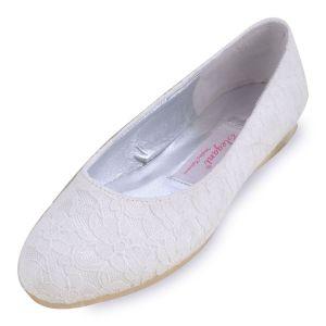 Flache Spitze Satin Brautschuhe Handgemachten Custom Hochzeit Schuhe Weiße Schuhe