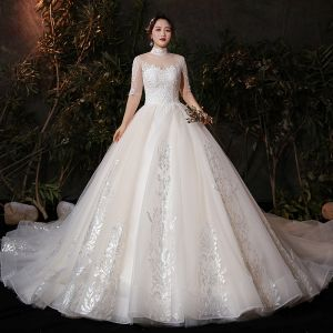 Vintage / Retro Champagne Plus Size Wedding Dresses 2020 Ball Gown See-through High Neck 1/2 Sleeves Backless Appliques Lace Glitter Tulle Cathedral Train Ruffle