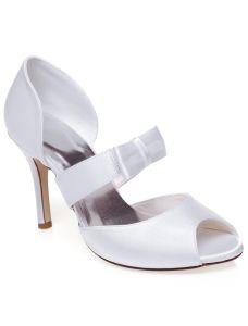 Vintages Sandales De Mariée En Satin Avec Talon Haut Blanc Chaussures De Mariage Talons Aiguilles Peep Toe