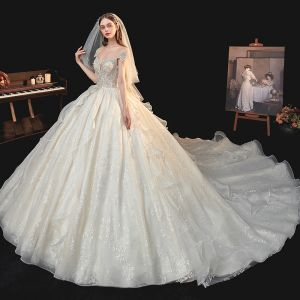 Luxury / Gorgeous Champagne Bridal Wedding Dresses 2020 Ball Gown See-through Scoop Neck Short Sleeve Backless Glitter Tulle Sequins Beading Cathedral Train Ruffle