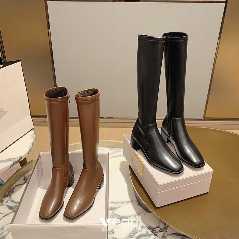 Fashion Winter Chocolate Street Wear Womens Boots 2021 Leather Mid Calf 4  cm Thick Heels Low Heel Square Toe Boots