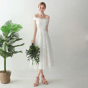 Unique Weiß Wadenlang Abendkleider 2018 A Linie Tülle Flechten Knöchelriemen Bandeau Abend Festliche Kleider