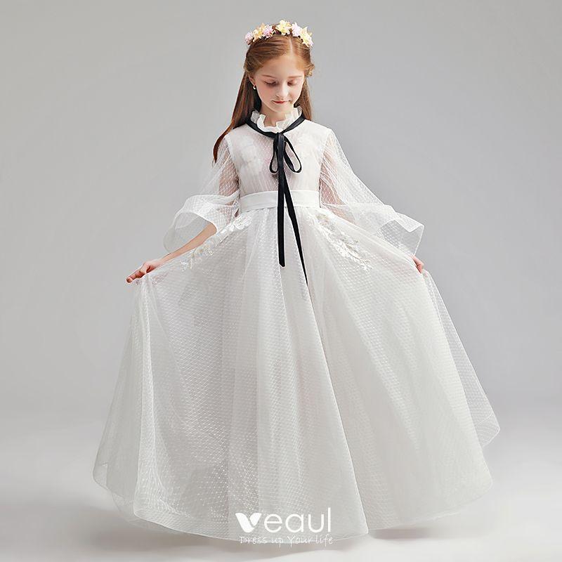 Sencillos Marfil Vestidos Para Niñas 2019 A Line Princess Cuello Alto Manga Larga Cinturón Apliques Con Encaje Manchado Tul Largos Ruffle Vestidos