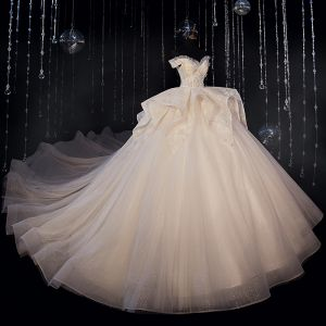 Luxury / Gorgeous Ivory Bridal Wedding Dresses 2020 Ball Gown Off-The-Shoulder Short Sleeve Backless Appliques Lace Beading Glitter Tulle Cathedral Train Ruffle