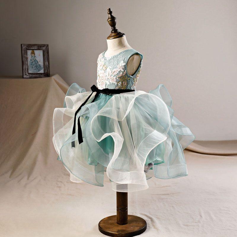 Elegant Green Flower Girl Dresses 2019 Ball Gown Scoop Neck Sleeveless Appliques Sequins Tea-length Cascading Ruffles Backless Wedding Party Dresses