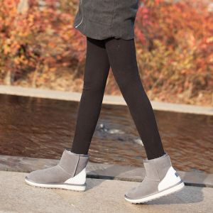 Modest / Simple Snow Boots 2017 Grey Leather Ankle Suede Casual Winter Flat Womens Boots