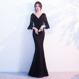 Modern / Fashion Black Evening Dresses  2017 Trumpet / Mermaid Pearl V-Neck 3/4 Sleeve Floor-Length / Long Ruffle Backless Formal Dresses