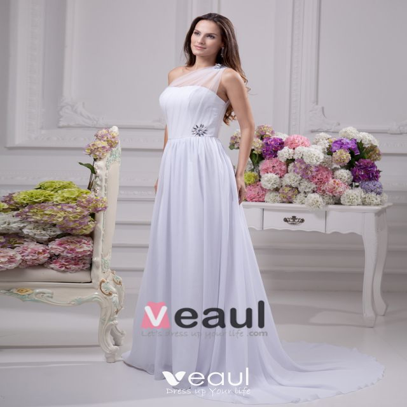 Lutande Golv Langd Beading Plisserad Chiffong Kvinnor Klänning Imperium Brudklänningar Bröllopsklänningar