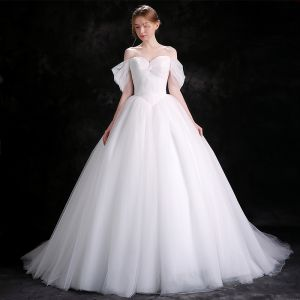 Modest / Simple White Wedding Dresses 2018 Ball Gown Off-The-Shoulder Backless Sleeveless Cathedral Train Wedding