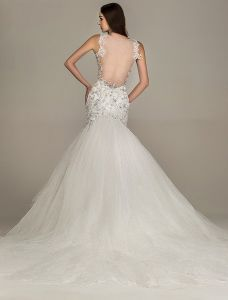 2015 Mermaid Shoulders V-neck Beading Backless Lace Wedding Dress