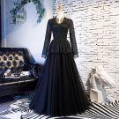 Élégant Vintage / Originale Noire Robe De Bal 2019 Princesse Encolure Dégagée Dentelle Gland Manches Longues Longue Robe De Ceremonie