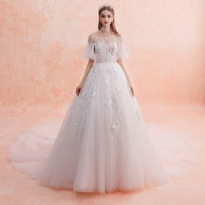 Best Ivory Wedding Dresses 2019 A-Line / Princess Off-The-Shoulder Short Sleeve Backless Appliques Lace Beading Chapel Train Ruffle