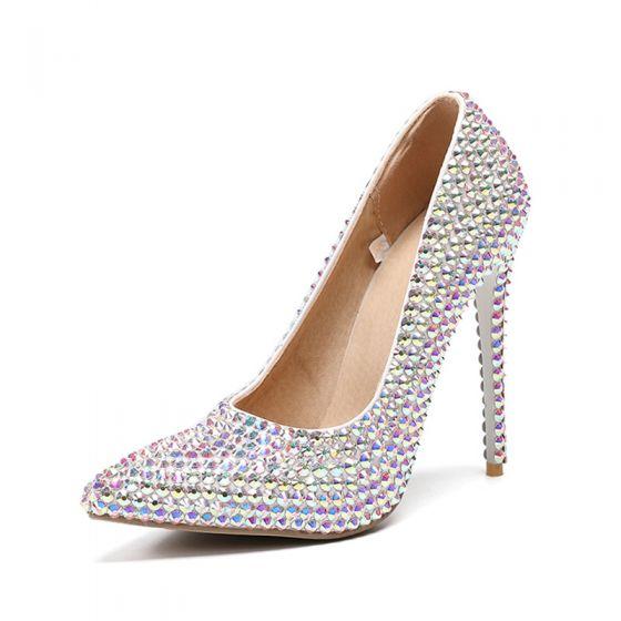 Encantador Multi-Colors Zapatos de novia 2019 Rhinestone 11 cm Stilettos / Tacones De Aguja Punta Estrecha Boda Tacones