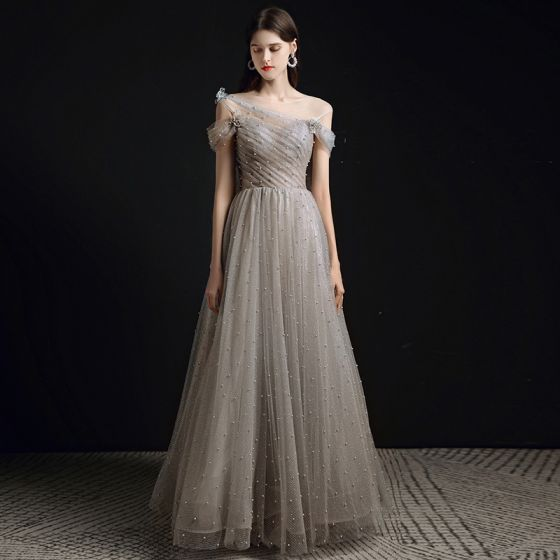 Chic / Beautiful Grey Pearl Prom Dresses 2021 A-Line / Princess Scoop Neck Short Sleeve Backless Floor-Length / Long Formal Dresses