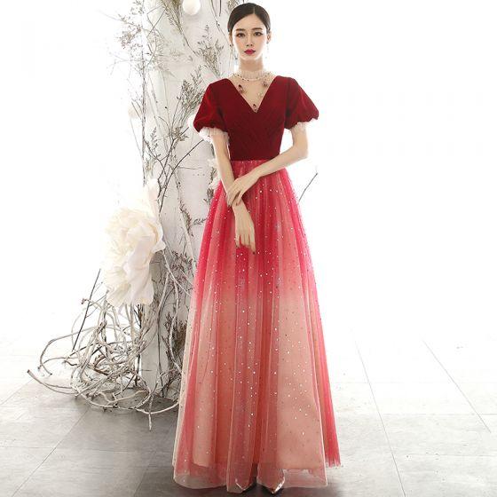 Snygga / Fina Röd Mocka Aftonklänningar 2020 Prinsessa Genomskinliga Hög Hals Pösigt Korta ärm Glittriga / Glitter Tyll Beading Långa Ruffle Halterneck Formella Klänningar