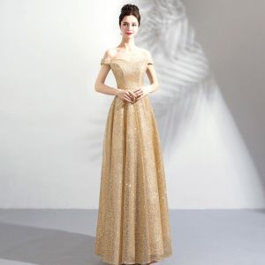 Bling Bling Gold Champagne Floor-Length / Long Evening Dresses  2018 A-Line / Princess Tulle Beading Sequins Strapless Prom Dresses
