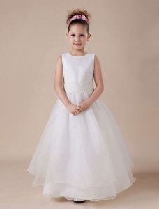White Sleeveless Lace Paillette Applique Flower Girl Dress