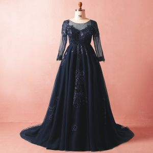 Luxury / Gorgeous Navy Blue Plus Size Evening Dresses  2018 A-Line / Princess Long Sleeve Tulle V-Neck Crossed Straps Appliques Backless Beading Sequins Winter Prom Formal Dresses