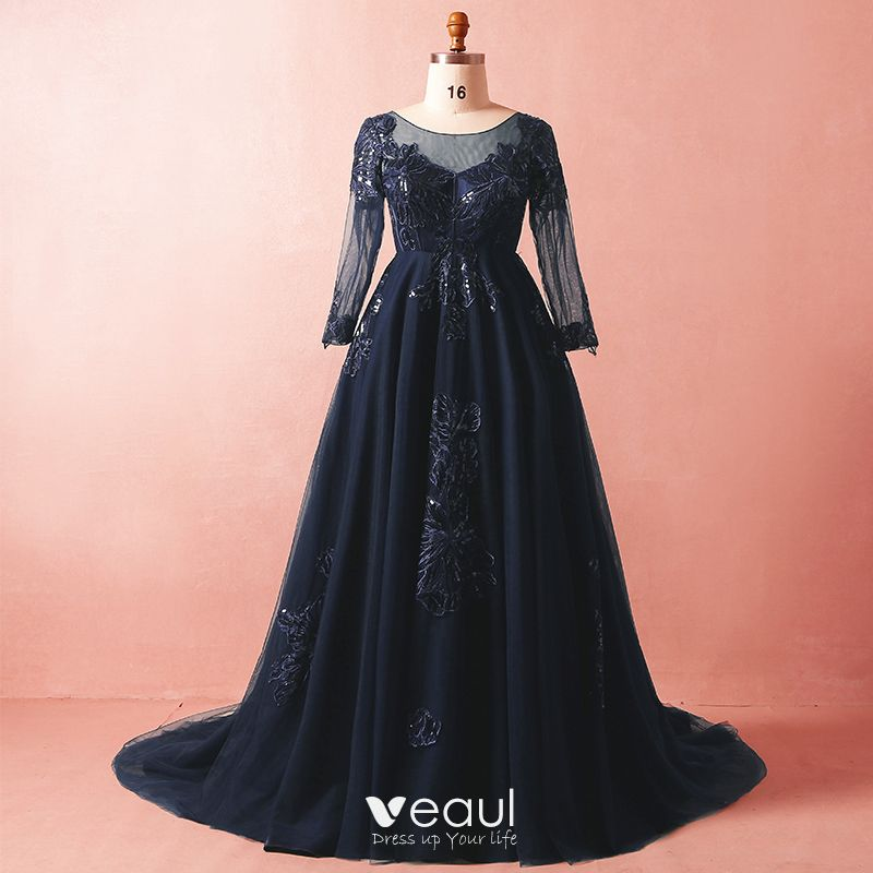 Luxury / Gorgeous Navy Blue Plus Size Evening Dresses 2018 A-Line /  Princess Long Sleeve Tulle V-Neck Crossed Straps Appliques Backless Beading  ...