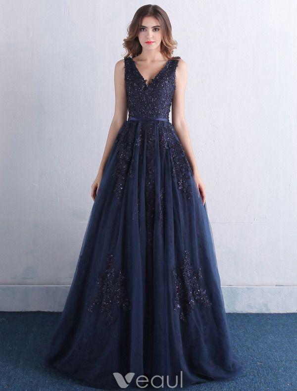 Elegant Prom Dresses 2016 V-neck Applique Lace With Sequins Navy Blue Tulle Long Dress