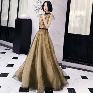 Best Gold Evening Dresses  2020 A-Line / Princess See-through High Neck Cap Sleeves Glitter Star Sequins Sweep Train Ruffle Backless Formal Dresses