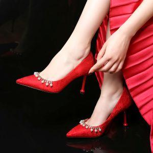 Modern / Fashion Red Wedding Shoes 2020 Lace Rhinestone Pearl 8 cm Stiletto Heels Pointed Toe Wedding Pumps