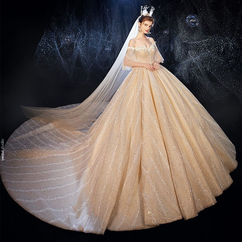 Luxury / Gorgeous Champagne Wedding Dresses 2020 Ball Gown Off-The-Shoulder Bell sleeves 3/4 Sleeve Backless Glitter Tulle Appliques Lace Rhinestone Cathedral Train Ruffle