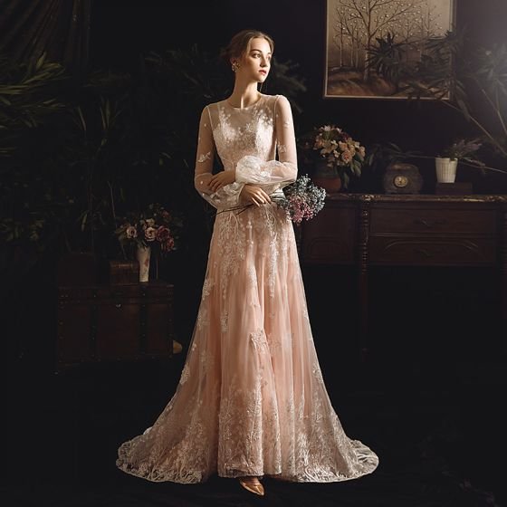 Best Champagne See-through Outdoor / Garden Wedding Dresses 2019 Sheath / Fit Scoop Neck Puffy Long Sleeve Appliques Lace Sweep Train Ruffle